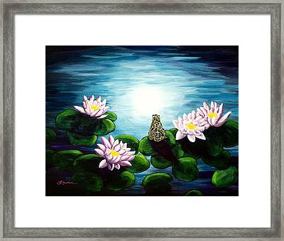 Frog In A Moonlit Pond Framed Print by Laura Iverson