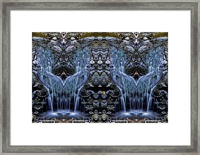 Froggie In The Waterfall Framed Print by William Durfey