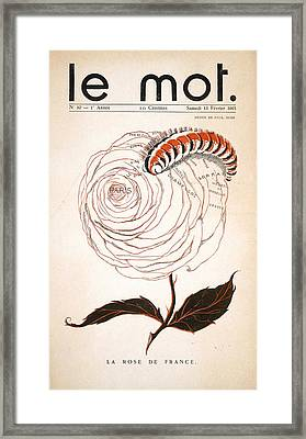 Front Cover Of Le Mot, 13th February Framed Print by Paul Iribe