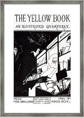 Front Cover Of The Prospectus For The Yellow Book Framed Print by Aubrey Beardsley