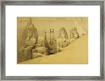 Front Elevation Of The Great Temple Of Aboo Simbel Framed Print by David Roberts