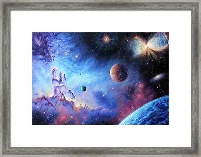 Frontiers Of The Cosmos Framed Print by Lucy West