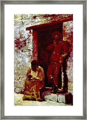 Frontiersman And Native Americans Framed Print by Granger