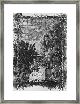 Frontispiece Illustration From Fables By Hippolyte De Thierry-faletans Framed Print by Rodolphe Bresdin