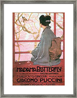 Frontispiece Of The Score Sheet For Madame Butterfly By Giacomo Puccini 1858-1924 Colour Litho See Framed Print by Italian School