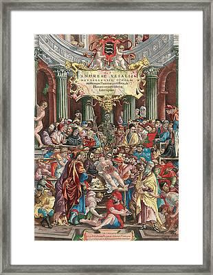 Frontispiece To De Humani Corporis Fabrica Libri Septem Framed Print by Venetian School