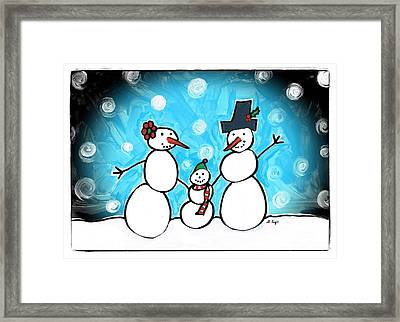 Frosty Family 1 Merry Christmas By Sharon Cummings Framed Print by Sharon Cummings