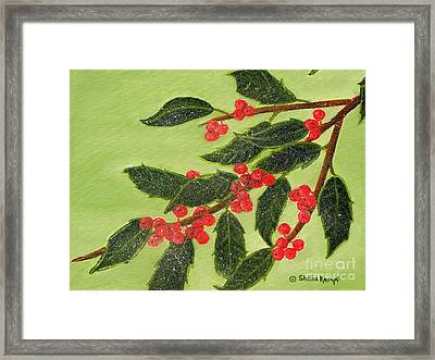 Frosty Holly Berries Framed Print by Shelia Kempf