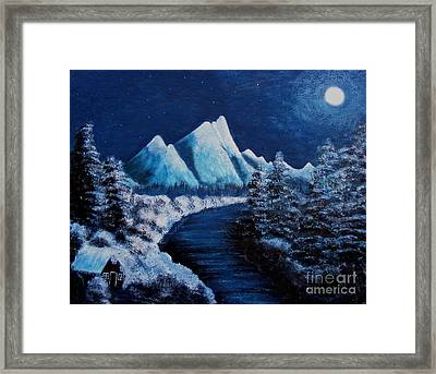 Frosty Night In The Mountains Framed Print by Barbara Griffin