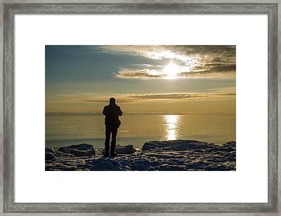Frozen Beach At Sunset Framed Print by Samantha Morris