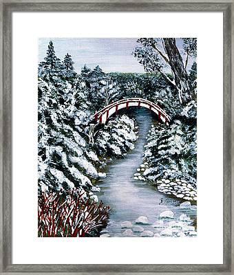 Frozen Brook - Winter - Bridge Framed Print by Barbara Griffin