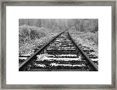 Frozen Illusion - Train Tracks Vanish  Into Frozen Fog Framed Print by Mark Kiver