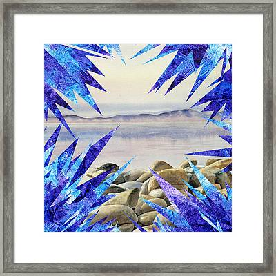 Frozen Lake Tahoe Abstract Collage Framed Print by Irina Sztukowski