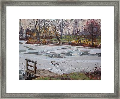 Frozen Pond Framed Print by Ylli Haruni