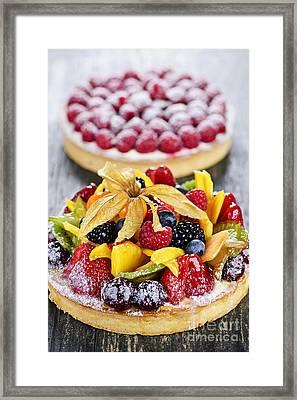 Fruit And Berry Tarts Framed Print by Elena Elisseeva