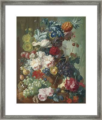 Fruit And Flowers In A Terracotta Vase Framed Print by Jan van Os