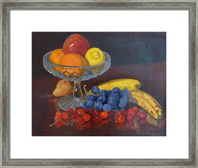 Fruit And Glass Framed Print by Terry Perham