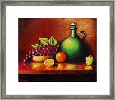 Fruit And Jug Framed Print by Gene Gregory
