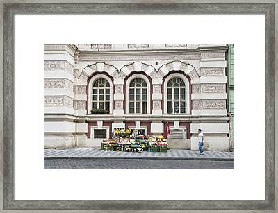 Fruit And Veg Stall On The Street In Prague Framed Print by Matthias Hauser