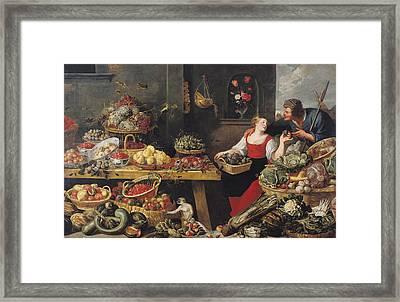 Fruit And Vegetable Market Oil On Canvas Framed Print by Frans Snyders