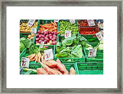 Fruit And Vegetable Stall Framed Print by Tom Gowanlock