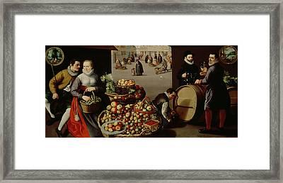 Fruit Market Framed Print by Lucas van Valckenborch