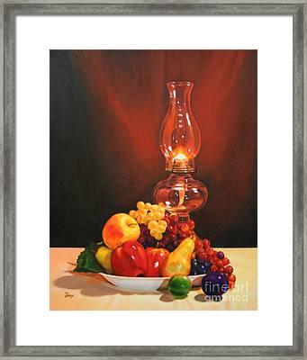Fruit Under Lamp Light Framed Print by Jimmie Bartlett