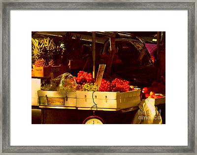 Fruitstand With Pineapples Framed Print by Miriam Danar