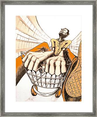 Shopping Cart Framed Print featuring the drawing Frustrated Shopping Experience by Allan Swart