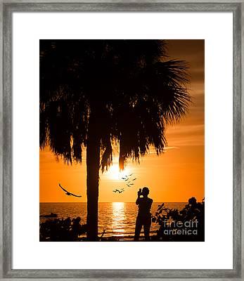 Ft Meyers Beach At Sunset Framed Print by Anne Kitzman