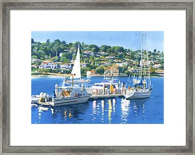 Fuel Dock Shelter Island San Diego Framed Print by Mary Helmreich