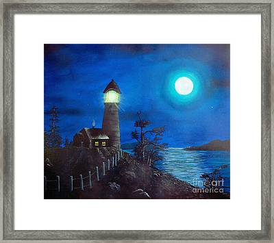 Full Moon And Lighthouse Digital Painting Framed Print by Barbara Griffin