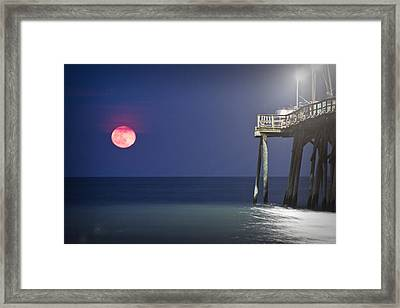 Full Moon At Carolina Beach Pier Framed Print by Phil Mancuso