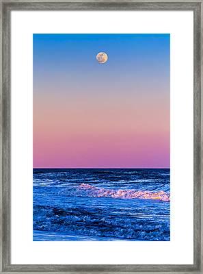 Full Moon At Sea Framed Print by Ryan Moore