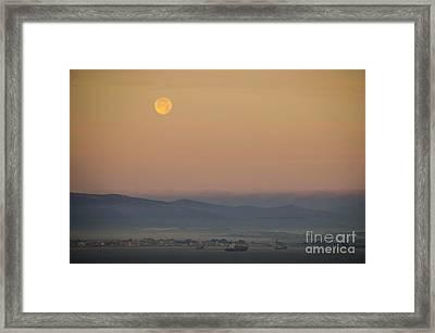 Full Moon At Sunrise Over Spanish Coast Framed Print by Deborah Smolinske