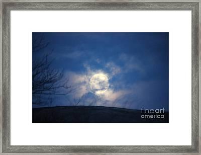 Full Moon Behind Clouds Framed Print by Linda Meyer