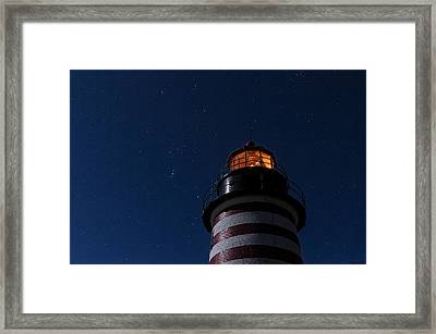 Full Moon On Quoddy Framed Print by Marty Saccone
