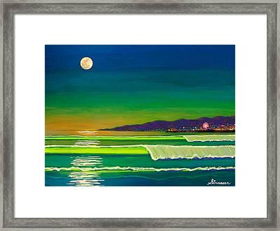 Full Moon On Venice Beach Framed Print by Frank Strasser