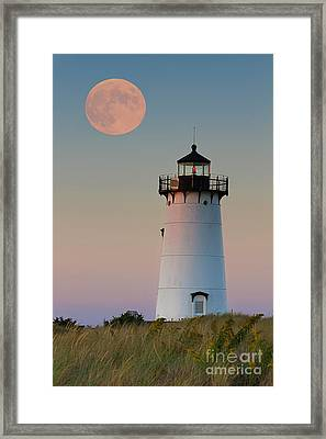 Full Moon Over Edgartown Lighthouse Framed Print by Katherine Gendreau