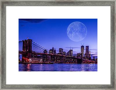 Full Moon Over Manhattan II Framed Print by Hannes Cmarits