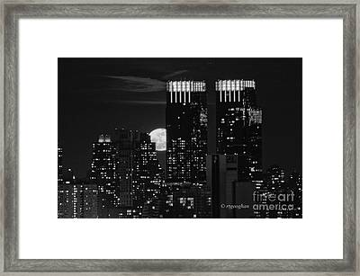 Full Moon Over New York City Framed Print by Regina Geoghan