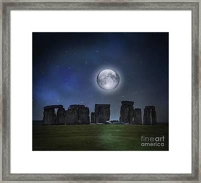 Full Moon Over Stonehenge Framed Print by Juli Scalzi