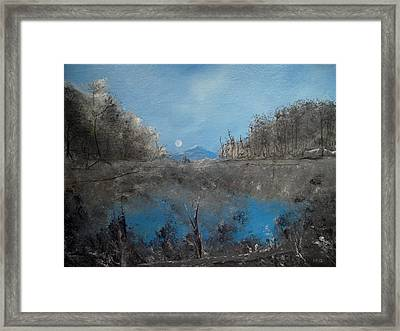 Full Moon Over Volcan Framed Print by Louis Crosby