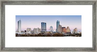 Full Moon Rising Behind Downtown Austin Skyline Texas Framed Print by Silvio Ligutti