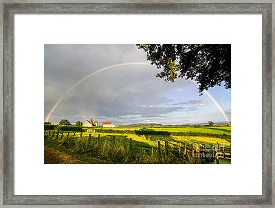 Full Rainbow With Setting Sun Framed Print by Patricia Hofmeester