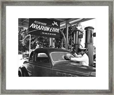 Full Service Gas Station Framed Print by Underwood Archives