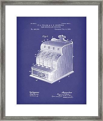 Fuller And Griswold Cash Register 1890 Patent Art Blue Framed Print by Prior Art Design