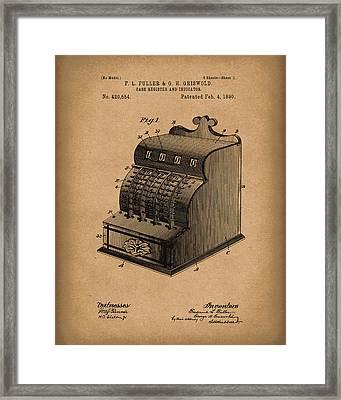 Fuller And Griswold Cash Register 1890 Patent Art Brown Framed Print by Prior Art Design