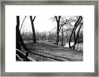 Fullersburg Woods Landscape In Black And White Framed Print by ImagesAsArt Photos And Graphics