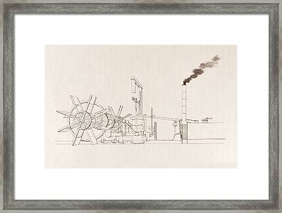 Fulton's Paddleboat Engine Framed Print by Science, Industry And Business Library/new York Public Library